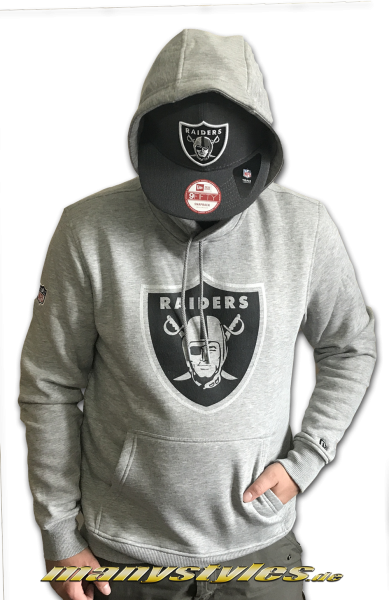 Oakland Raiders NFL Fan Pack Hooded Heather Grey Black von New Era