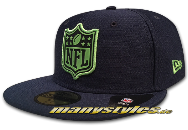 Seattle Seahawks 59FIFTY NFL Fitted Cap League Logo Fit Navy Lime Green OTC von New Era Front