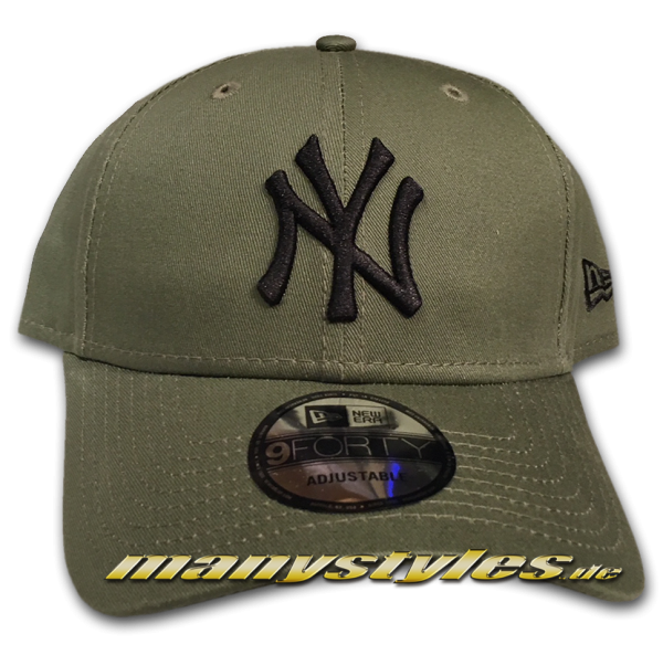NY Yankees 9FORTY MLB League Essentials Curved Visor Adjuastable Cap Nov Olive Black von New Era