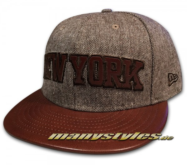 NY Knicks NBA New York 59FIFTY Leather Tweed Cap