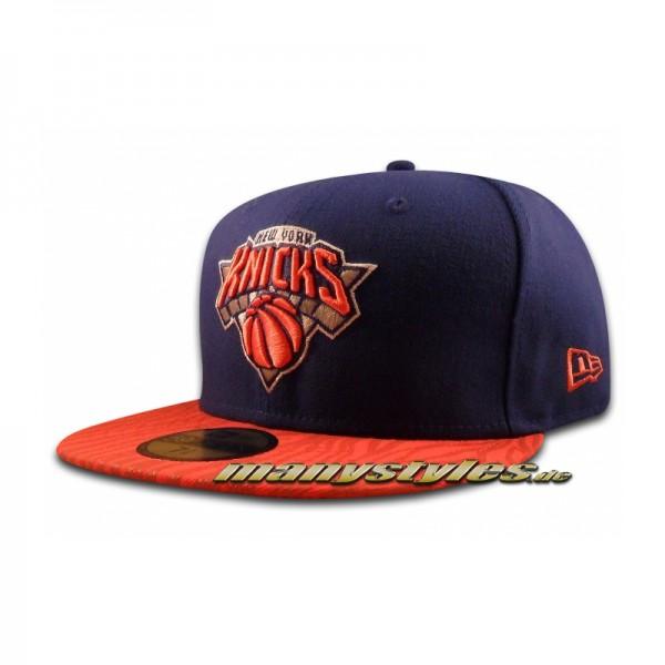 NY Knicks 59FIFTY NBA Tonal Zebra Cap Royal Orange Official Team Color
