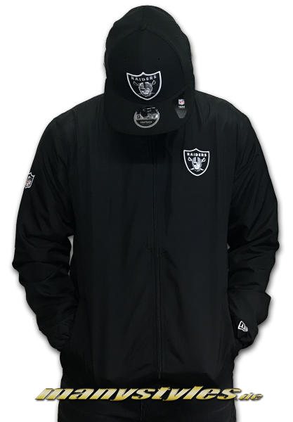 Las Vegas Raiders NFL Team App Track Zip Jacket Black White OTC von New Era