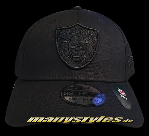 Las Vegas Raiders NFL 39THIRTY Curved Visor Cap Stretch Flex Fit Black on Black von New Era