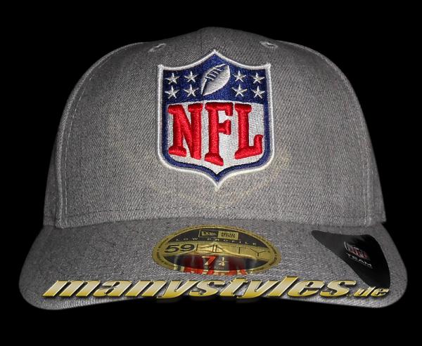 NFL League Logo LP Low Profile Cap Curved Visor Heather Grey Chambrak TC von New Era