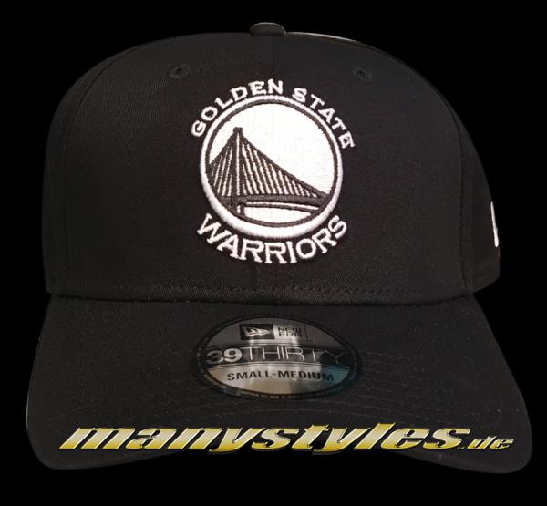 Golden State Warriors NBA 39THIRTY Cuved Visor Strech Flex Fit Cap Black White Monochrome von New Era