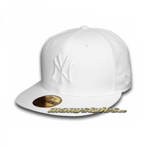 NY Yankees 59FIFTY MLB Basic White on White Cap Icy White