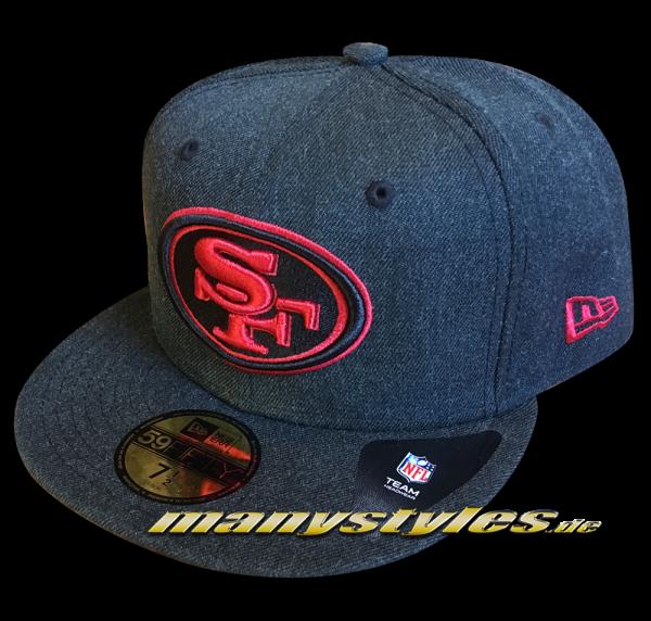 San Francisco 49ers NFL 59FIFTY Fitted Cap Heather Bold Black Denim Red von New Era