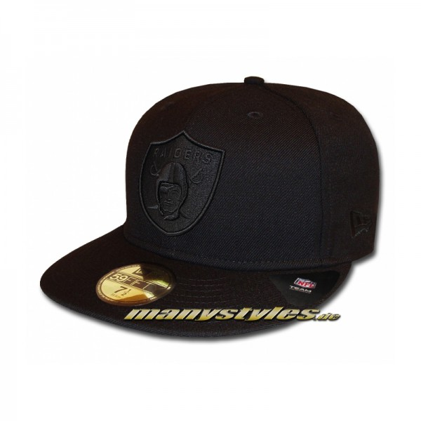 Oakland Raiders 59FIFTY Ftted NFL Black on Black Cap