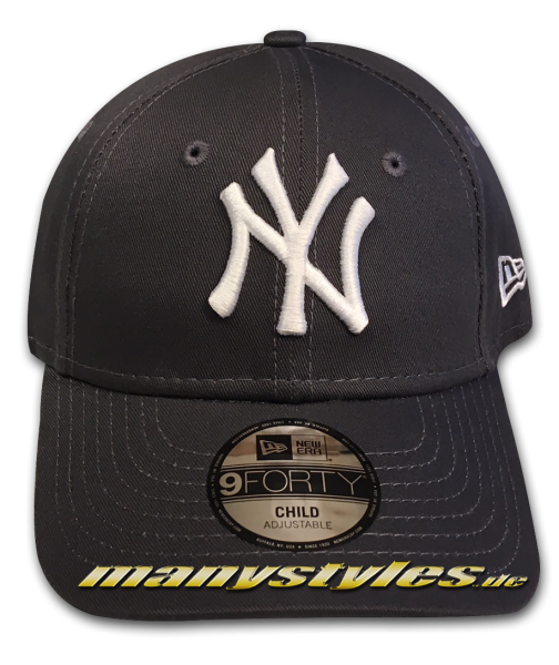 NY Yankees 9FORTY MLB League Essentials Curved Visor Adjustable Cap Kids von New Era