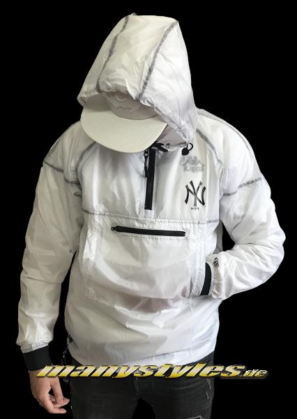 NY Yankees MLB Snow Stealth Smock Half Zip Windbreaker Jacket Transparent White Black von New Era