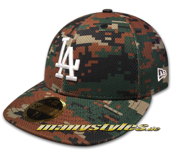 LA Dodgers MLB 59FIFTY LC Curved Visor Diamond Era LP Digital Woodland Camouflage White LP Low Profile Cap von New Era
