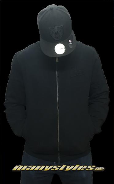 New Era Crafted Zip Varsity Jacket Black on Black