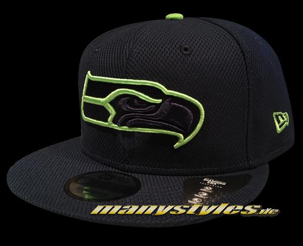 Seattle Seahawks NFL Team Outline 9Fifty Diamond Era Snapback Cap Navy Lime OTC von New Era