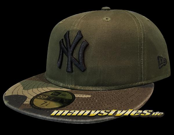 New Era NY Yankees MLB 59FIFTY Cap Washed Camo Fit Rifle Green Woodland Camouflage