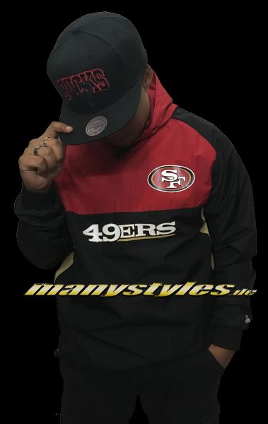 San Francisco 49ers NFL Color Block Windbreaker OTC Official Team Color Red Black Gold von New Era