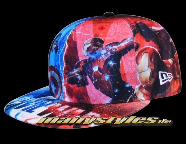 New Era Marvel Comic Art Cap Cpt America Captain America Civil War 59FIFTY All Over Sketches Multi Color Caps Alternate View
