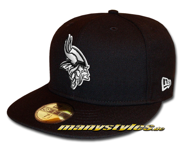 Minnessota Vikings 59FIFTY Fitted Cap League Essential Basic Fit2 Black White von New Era