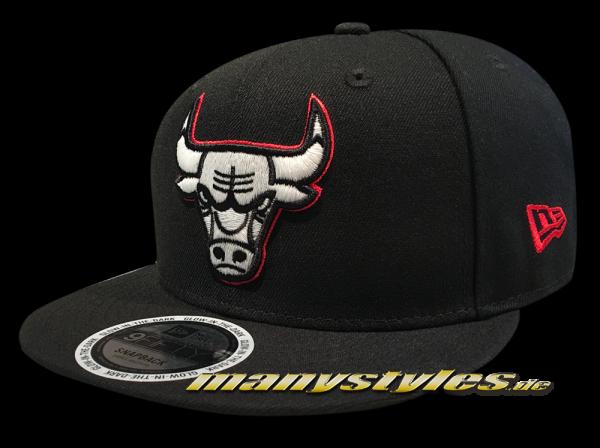 Chicago Bulls 9FIFTY NBA Team GITD (Glow in the Dark) Snapback Cap Black Scarlet Red White Cap von New Era