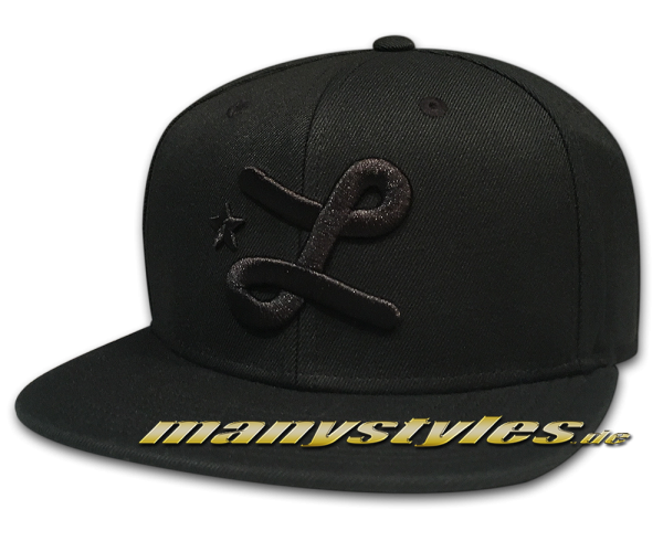 LRG Lifted Research Group LRG Team L Snapback Hat Cap Black on Black