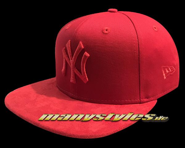NY Yankees 9FIFTY MLB Tonal Suede Visor OF Snapback Cap Scarlet Red von New Era
