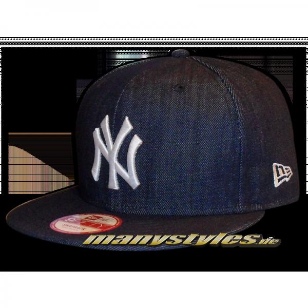 NY YANKEES New Era 9FIFTY Denim Basic Authentic Snapback Cap Team Color Navy White