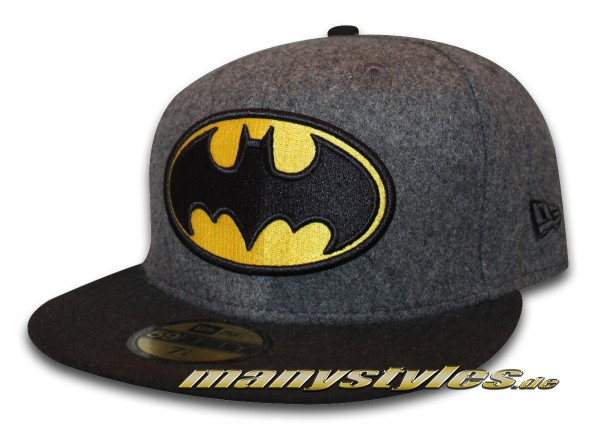 Batman 59FIFTY DC Comic Hero Melton Cap Grey Black Yellow OTC New Era