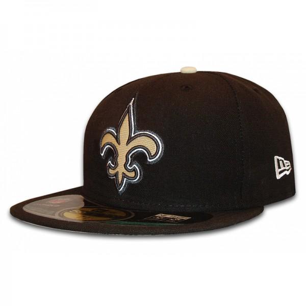 NEW ERA NFL New Orleans Saints 59FIFTY Authentic Cap Black White Khaki Gold White 59FIFTY