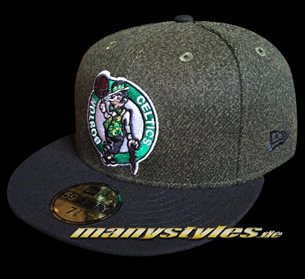 Boston Celtics NBA 9FIFTY Fitted Cap Melton Crsp Heather Charcoal Dark Green Black von New Era