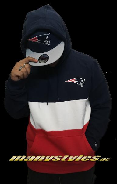 New England Patriots NFL Color Block Hooded navy red White OTC von New Era