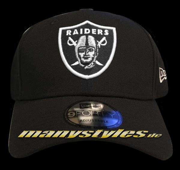 Oakland Raiders NFL 9Forty Cuved Visor Cap Black White Original Team Color Color Team Curved Visor 9Forty Adjustable Cap von New era