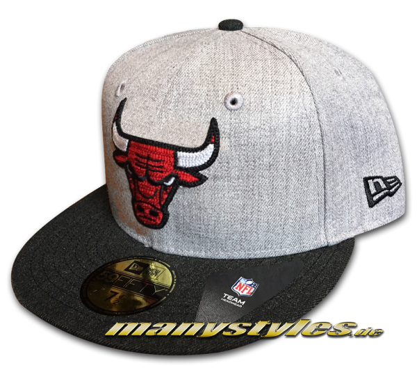 Chicago Bulls NBA 59FIFTY Fitted Cap Heather Crsp2 Fit Heather Grey Red Black White OTC von New Era